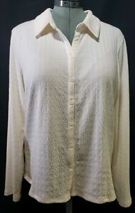 J-jill-Women-039-s-Cream-Color-Stretch-Shirt-Long-Sleeve-Button-Down-Blouse-Size-L