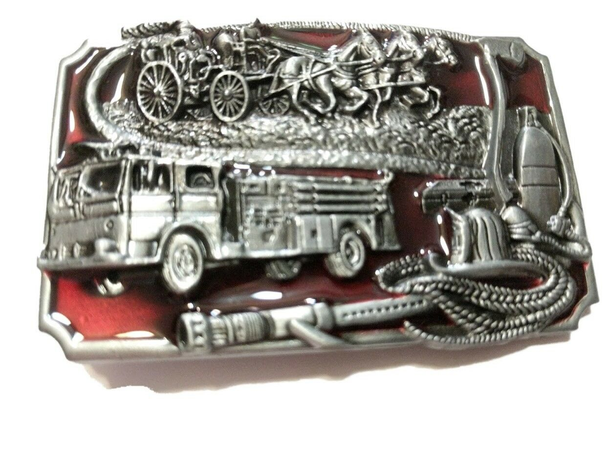 ♈ FIRE DEPARTMENT Belt Buckle red inlets ♈ Fire Dept Great gift.Classic retro