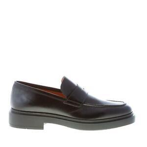 SANTONI-scarpe-uomo-Mocassino-penny-in-pelle-nero-suola-gomma-made-in-Italy