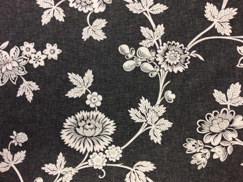 Wow 70/% De Descuento 100/% Algodón Negro Estampado Floral Cortina Ciega Tela Material RRP £ 20