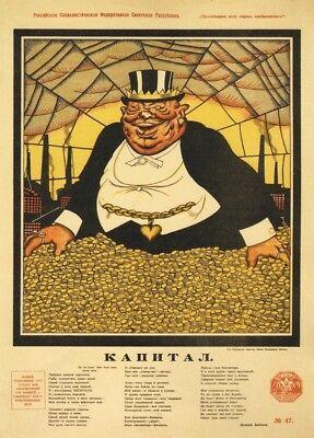 "1920 Russian Propaganda Poster /""THE CAPITALIST/"" Soviet Union Communist"