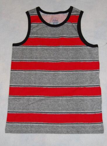 Boys Tank Top RED Gray STRIPE S 6-7 M 8 L 10-12 XL 14-16 XXL 18 BLACK TRIM