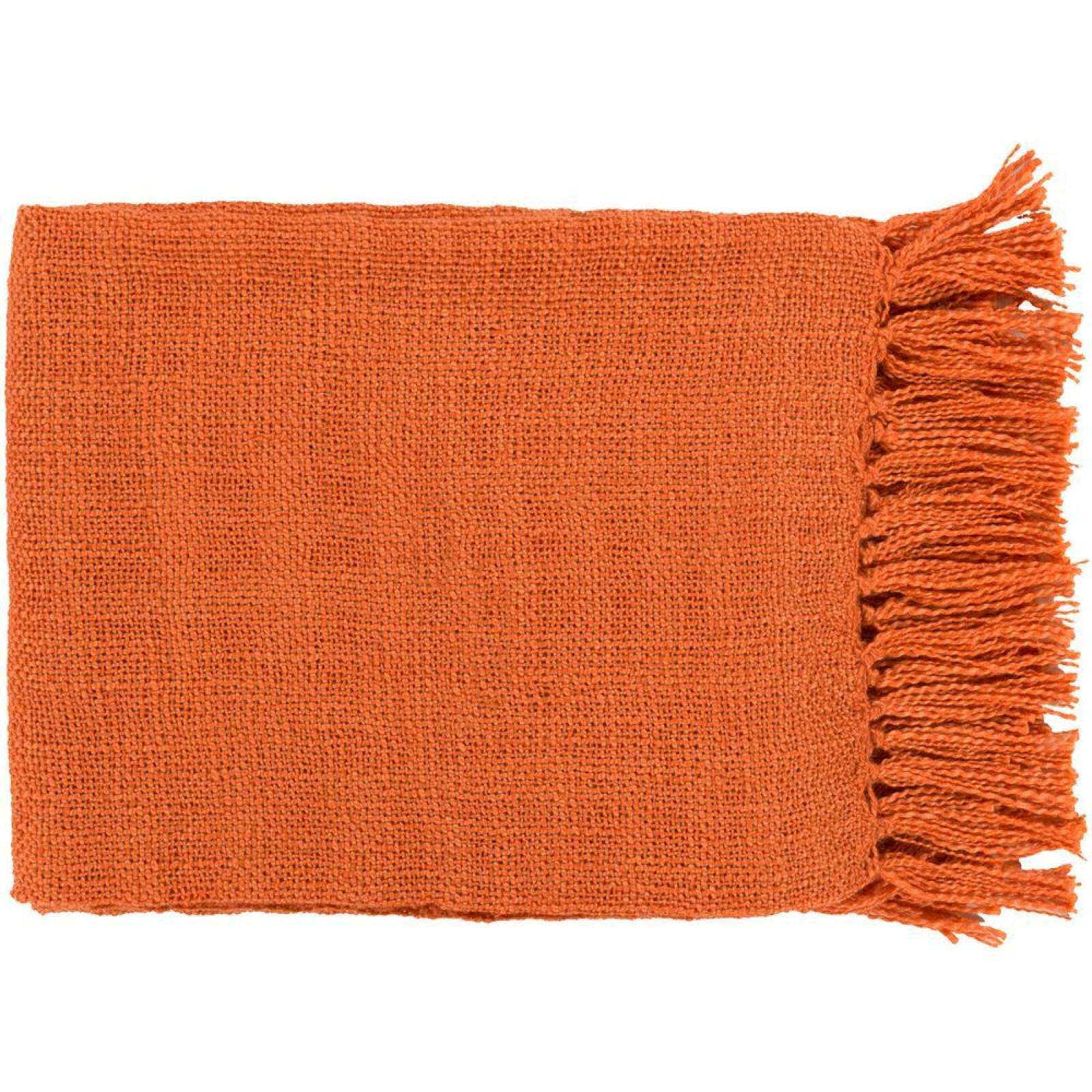 Throw Blanket 100% Acrylic Burnt orange Solid Knit Tassel Warm Artistic Weavers