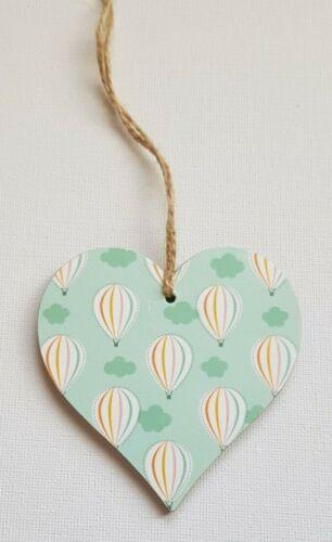 Handmade Wooden Hanging Heart Door Hanger Gorgeous Hot Air Balloons Print