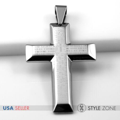 Unisex MEN GIRL Stainless Steel Bible Scriptures 3D Cross Pendant Charm Cool 11L