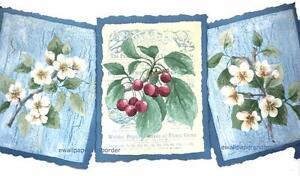 Image Is Loading Flower Wallpaper Border Botanical Seed Label Fl Cherry
