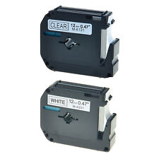2pk Black On Clearwhite Tape For Brother P Touch M K131 M K231 12mm Label Maker