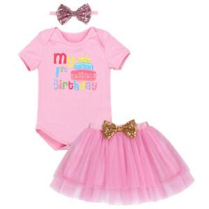 Baby Girl 1st Birthday Cake Smash Outfit Romper Tutu Shirt Headband
