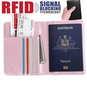 3ffacc616e92 Details about Mens Women RFID Blocking Leather Credit Card Wallet Purse  Travel Passport Holder