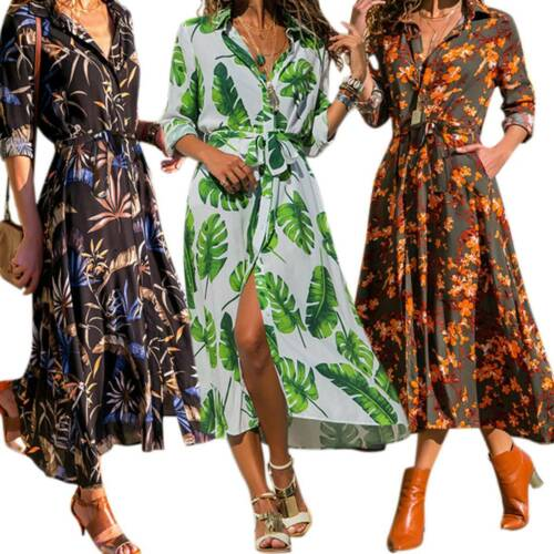 Women Long Sleeve Floral Print Midi Dress V Neck Party Loose Wrap Shirt Dresses