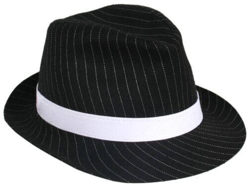 ADULT BLACK PINSTRIPE GANGSTER HAT BUGSY MALONE TRILBY FANCY DRESS UNISEX HAT