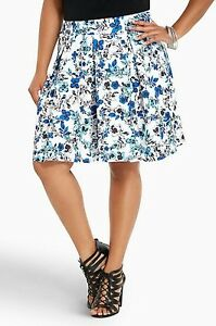 761c3be1a Torrid Womens Scuba Skirt Plus Size 4 4X Blue White Floral Skater ...
