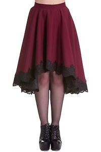 Hell-Bunny-L-Maroon-Full-Skirt-with-Black-Lace-Size-14-Fully-Lined-Nice-item
