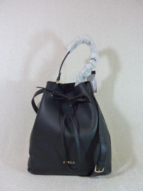 f63a0651da7ce NWT FURLA Black Pebbled Leather Medium Costanza Bucket Drawstring Tote Bag   448