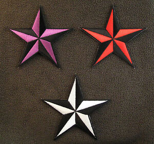 5-POINTED-STAR-3-COLOURS-Embroidered-iron-Sew-On-Patch-Tattoo-Biker-Rockabilly
