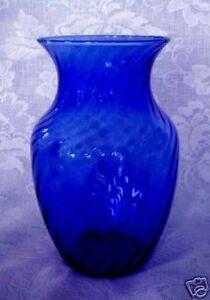 Collectible Cobalt Blue Blown Swirled Art Glass Vase - Wedding/Anniversary