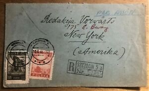 SZCZECIN-POLAND-to-JEWISH-DAILY-FORWARD-in-NEW-YORK-REGISTERED-COVER-of-1946