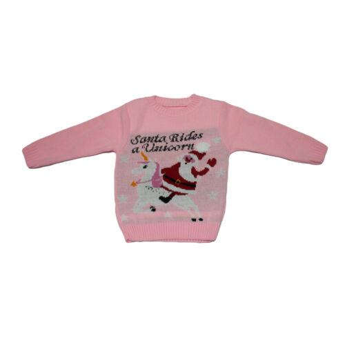 KIDS BOYS GIRLS CHILDRENS XMAS SANTA RIDES A UNICORN CHRISTMAS JUMPER SWEATER