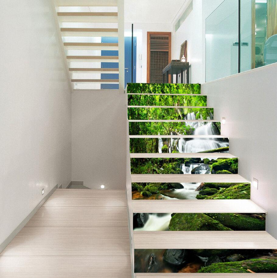 3d Arbre-Rivière 019 Stair Risers Décoration Papier Peint Vinyle Autocollant Papier Peint De