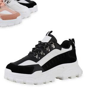Details zu Damen Plateau Sneaker Schnürer Blockabsatz Profil Sohle Schuhe 900047 Top