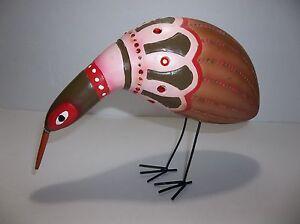 """Vintage Ceramic KIWI BIRD Figure 9.5"""" Red Rhinestones Hand Painted Metal Feet"""
