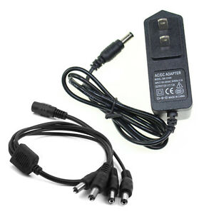 Details about AC DC 12V 1A Charger Power Supply Adapter Plug + 1 Female to  4 Male Port Cable