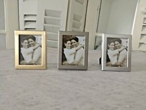 Mini Bilderrahmen Passfoto Silber//Gold//Grau 3er Set Gastgeschenke// Tischkarten