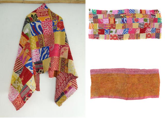 Vintage Dupatta Long Scarf Cotton Saffron Hand Embroidered Kantha Wrap Hijab