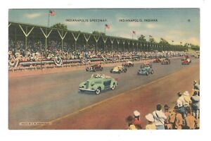 Indianapolis-Speedway-Indianapolis-Indiana-Linen-Unused-Vintage-Postcard-AF3