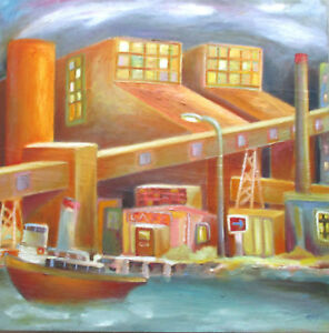 Nice-Original-Oil-on-Canvas-Rory-Brockman-Tanham-034-River-Cafe-034-80cm-x-80cm