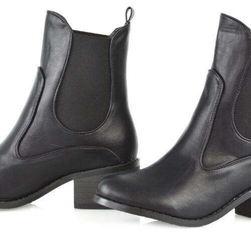 Womens Ankle Boots Block Low Mid Heel Ladies Western Pull On Gusset Chelsea Shoe