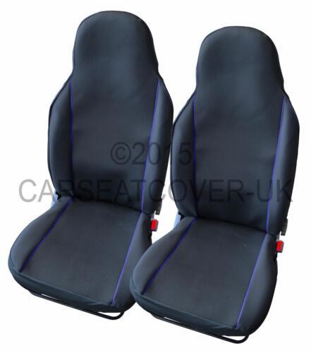 Peugeot BIPPER-par de Reino Unido hecho negro y ribete azul cubiertas de asiento de coche