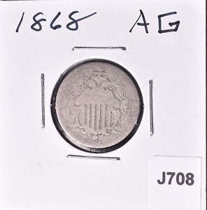 1868-Shield-Nickel-5C-AG-J708