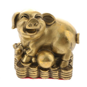 Figurines & Statues Asian Antiques Brass Chinese Zodiac Animal Coin Statute Pig Sculpture Ornament Money Lucky