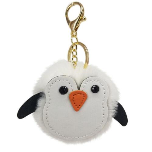 Soft`Fluffy Faux Penguin Pompom Ball HandBag Pendant Car Key Chain Key Rings