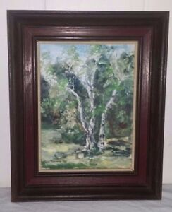Framed Oil on Board Birch Trees Painting Signed Lee Ramsey