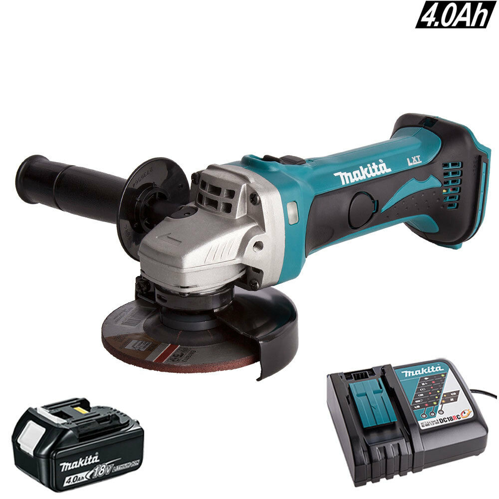 Makita DGA452Z 18V 115mm LXT Angle Grinder With 1 x 4Ah BL1840 Battery /& Charger