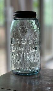 TOP SHELF EXAMPLE HAMMER WHITTLED KEYSTONE MASON FRUIT JAR PATENT 1858 QUART
