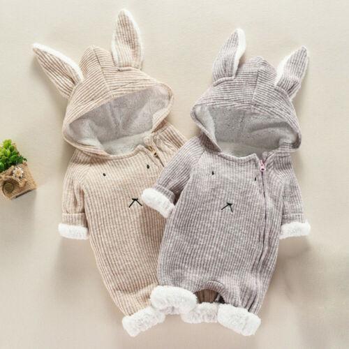 Newborn Infant Baby Boy Girl Cartoon Hooded 3D Ear Romper Jumpsuit Clothes UK