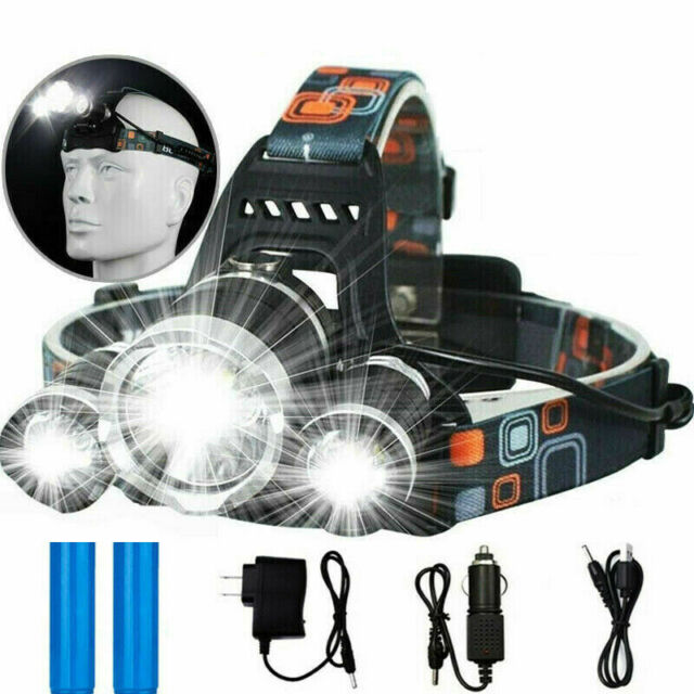 Tactical 100000LM Flashlight Zoomable T6 LED Headlight Headlamp Torch Charger