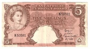 British-East-Africa-Banknote-5-Shillings-1958-1960-P37-VF-Queen-Elizabeth-Money