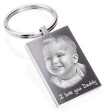 Personalised Keyring, Keychain Photo & text Engraved unique Keepsake Gift