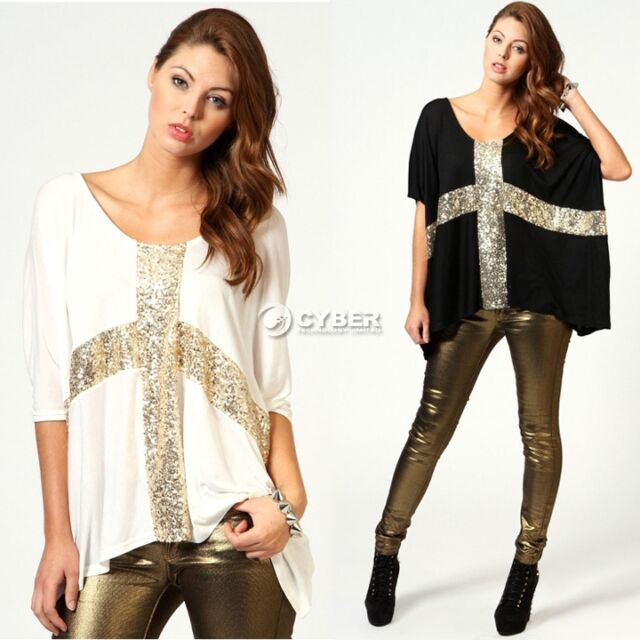 Trendy Punk Crew Neck Gold Sequins Cross Loose T-Shirt Top Blouse