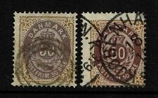 Denmark - SC# 33 (x2 Color Varieties) - Used (Second with Small Thin) - 052117