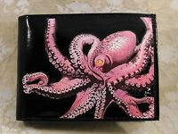 Octopus Decorated Leather Wallet M174