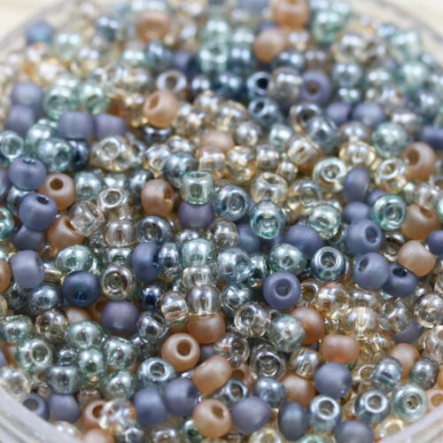 70gm! 6//0 Beach Glass Mega Mix Czech seed beads Rare!! loose