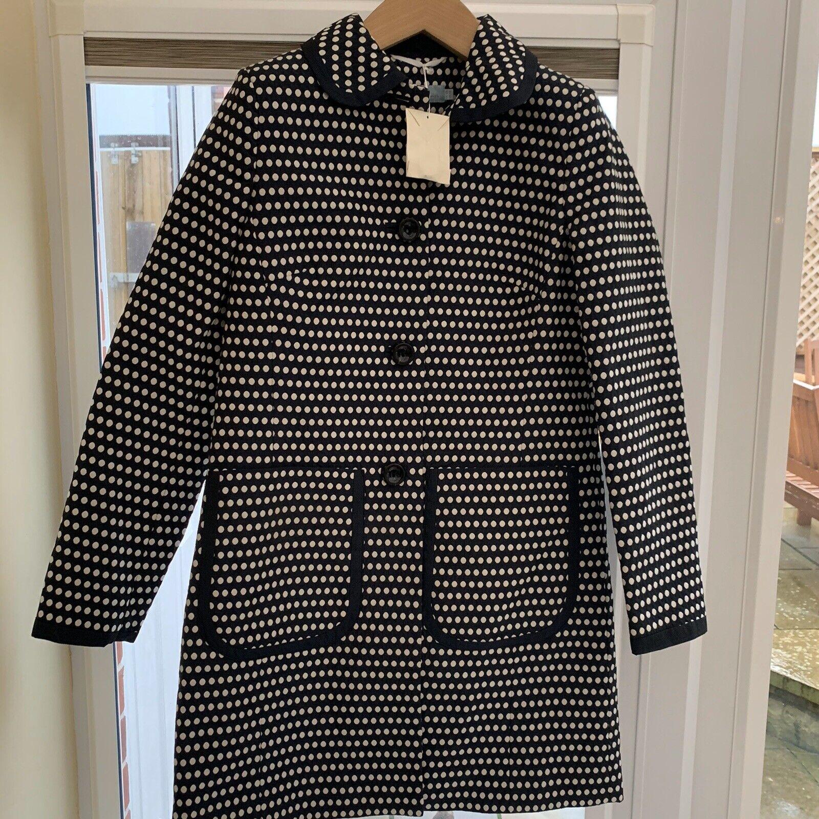 Women's Boden long coat size 10 Navy & white Mix