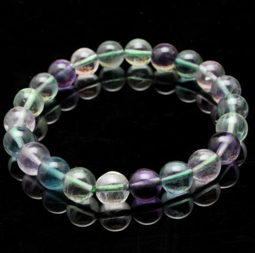 Fashion Natural Gemstone Round Rainbow Fluorite Beads Stretch Bracelet Bangle