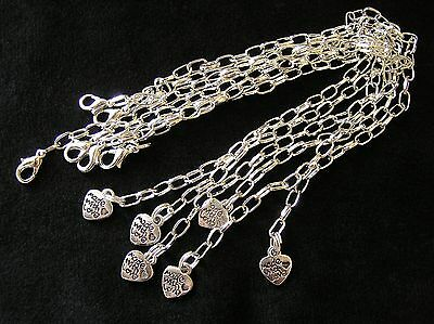 6 Blank Silver Plated Charm Bracelet Chains Jewellery Making Kit Adjustable