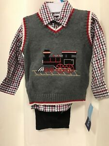 71ab3a210 Good Lad Boy 12 mo Train Engine Gray Vest Black Corduroy Pant Shirt ...